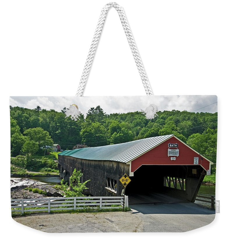 new England Covered Bridges Weekender Tote Bag featuring the photograph Bath Bridge by Paul Mangold