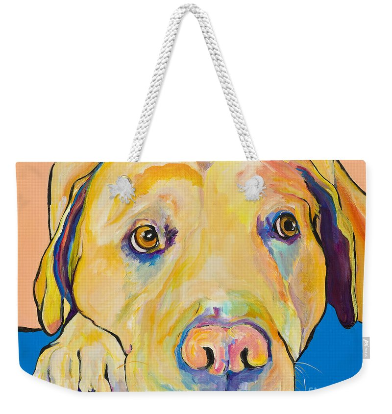 Dog Paintings Yellow Lab Puppy Colorful Animals Pets Weekender Tote Bag featuring the painting Bath Time by Pat Saunders-White