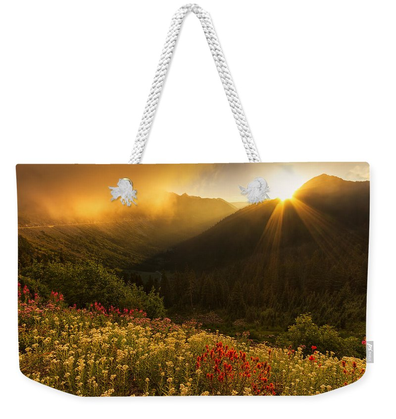 Chinook Pass Weekender Tote Bag featuring the photograph Bathed In Light by Mark Kiver