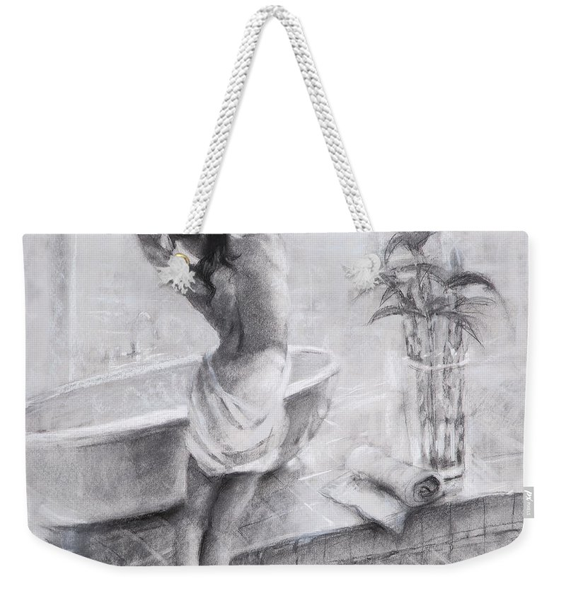 Bath Weekender Tote Bag featuring the painting Bathed In Light by Steve Henderson
