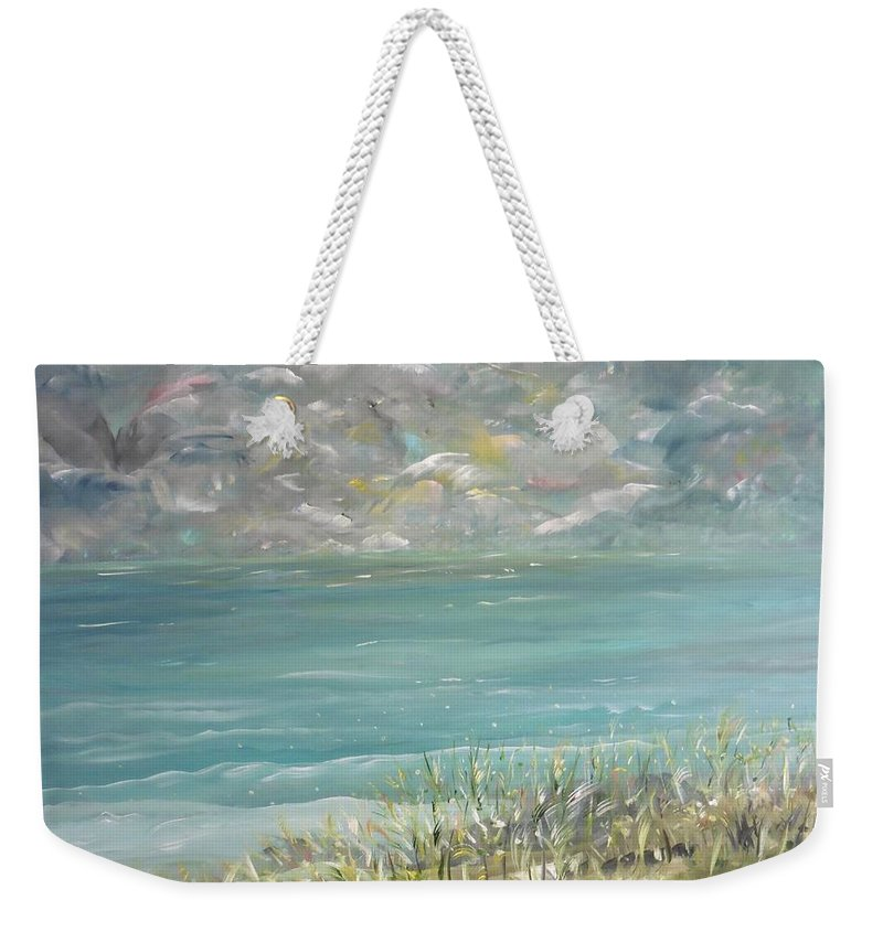Whimsical Sea Scape Weekender Tote Bag featuring the painting Bathed In Sweetness by Sara Credito