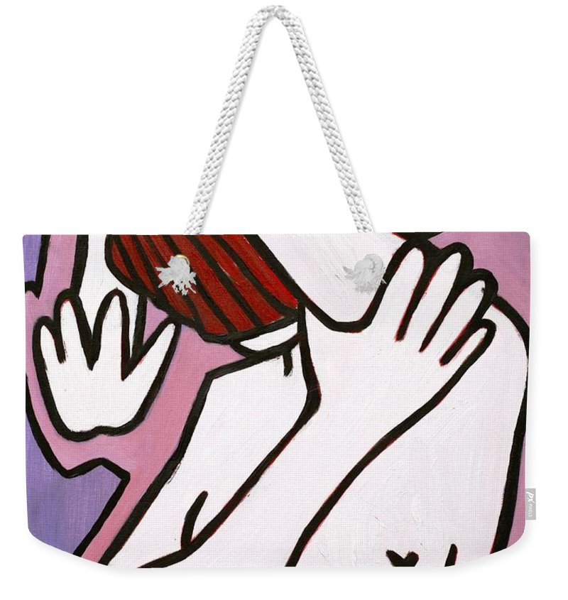 Nude Weekender Tote Bag featuring the painting Bather by Thomas Valentine