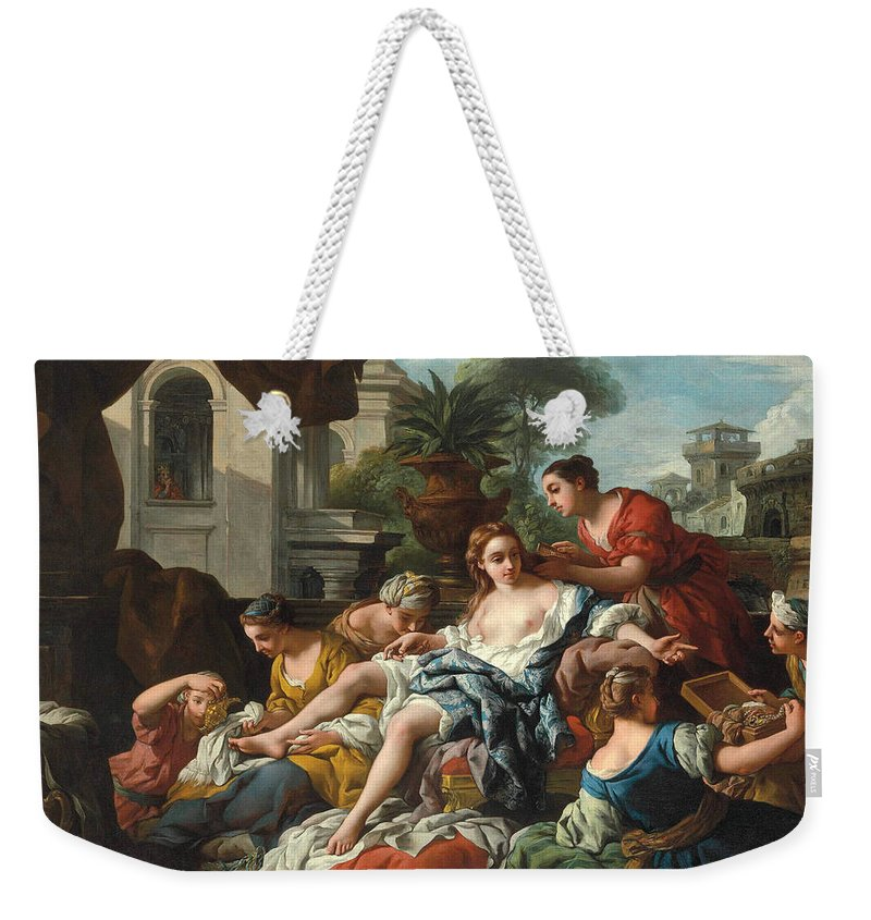 Jean-francois Detroy Weekender Tote Bag featuring the painting Bathsheba At Her Bath by Jean-Francois Detroy