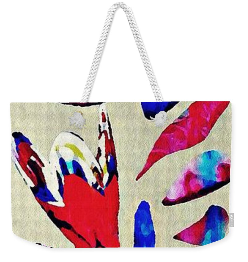 Flower Weekender Tote Bag featuring the mixed media Batik Bouquet by Sarah Loft