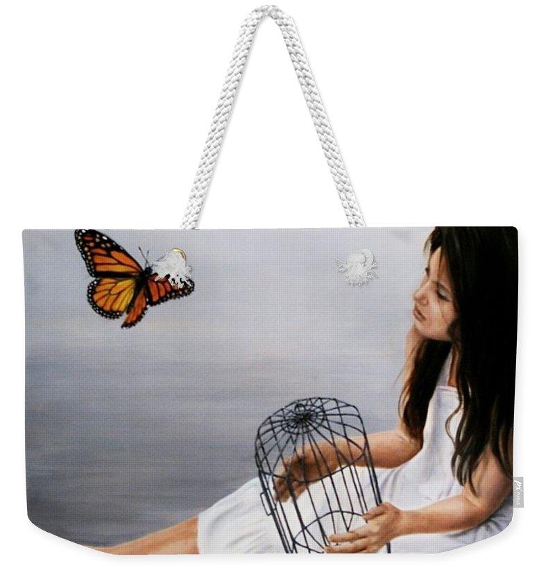 Girl Weekender Tote Bag featuring the painting Batterfly by Nataliya Bagatskaya