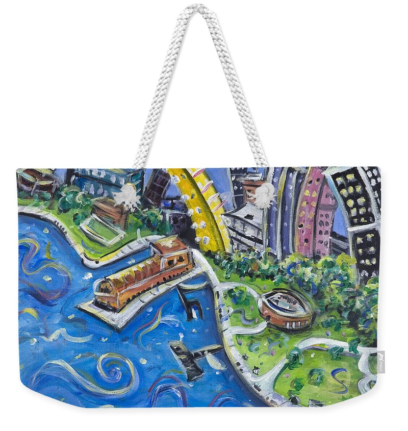Battery Park New York City Manhattan Wall Street Hudson River Buildings Water Boat South Weekender Tote Bag featuring the painting Battery Park by Jason Gluskin