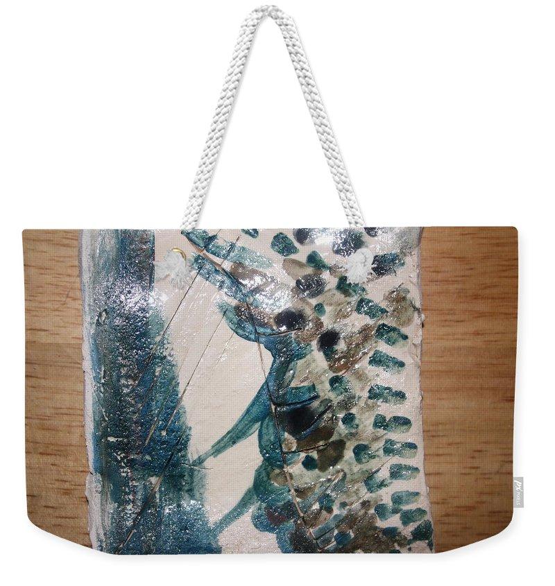 Jesus Weekender Tote Bag featuring the ceramic art Battle - Tile by Gloria Ssali