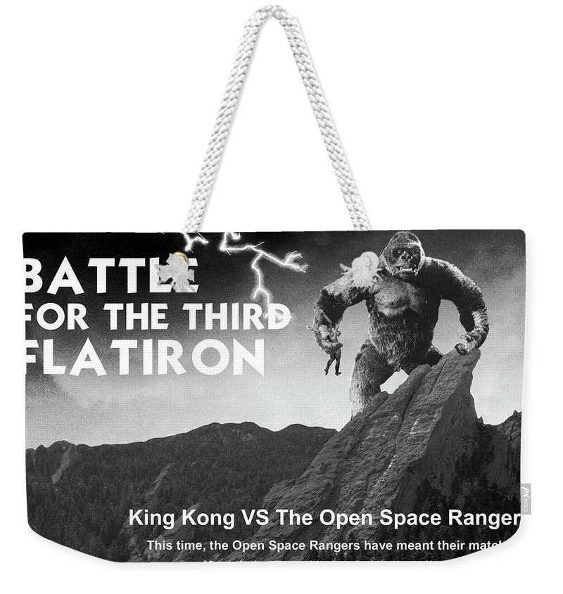 Boulder Weekender Tote Bag featuring the painting Battle For The Third Flatiron by Jerry McElroy