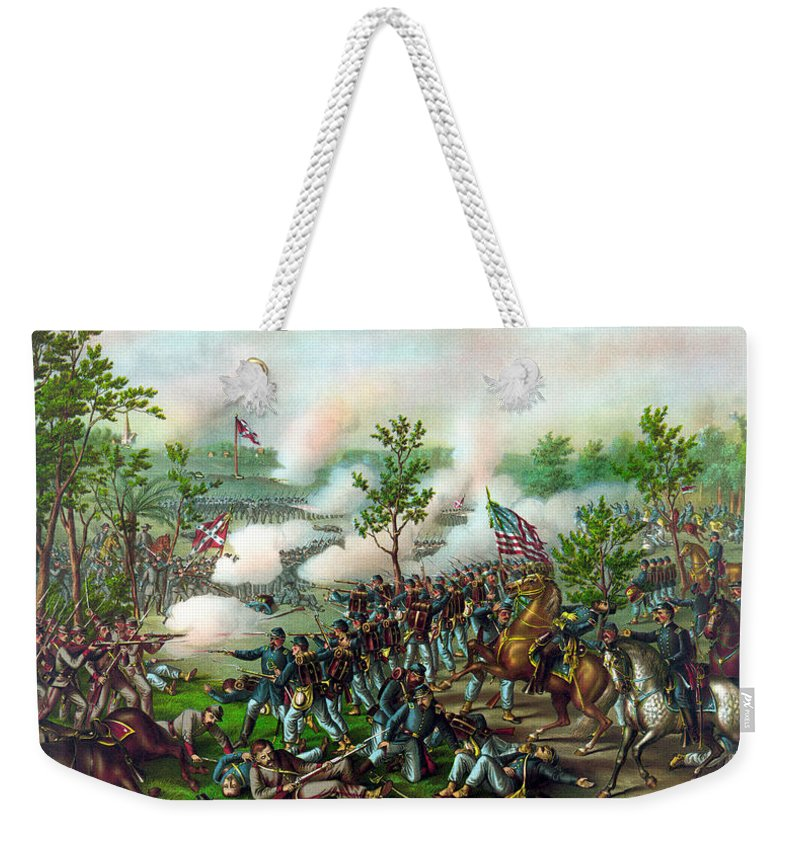 Battle Of Atlanta Weekender Tote Bag featuring the painting Battle Of Atlanta by War Is Hell Store
