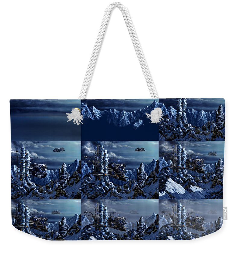 Steampunk Weekender Tote Bag featuring the digital art Battle Of Eagle's Peak Progression by Curtiss Shaffer