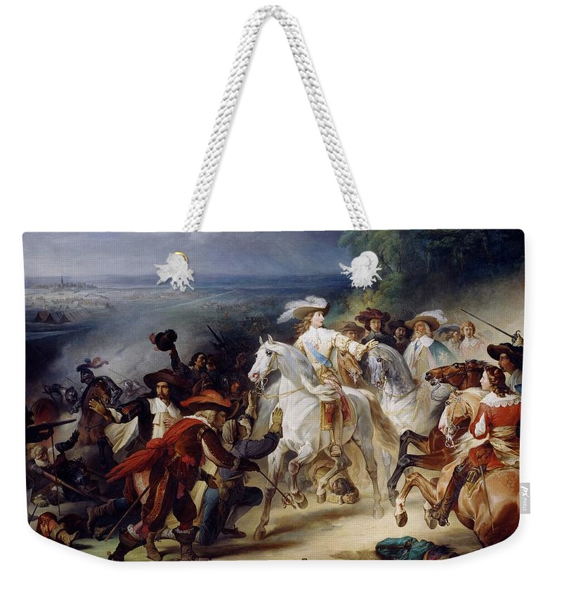 Battle Weekender Tote Bag featuring the painting Battle Of Rocroy by Francois Joseph Heim
