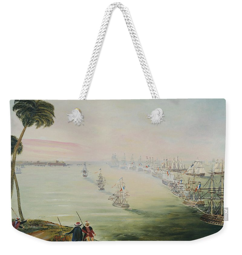 Sea Battle Weekender Tote Bag featuring the painting Battle Of The Nile by Richard Barham