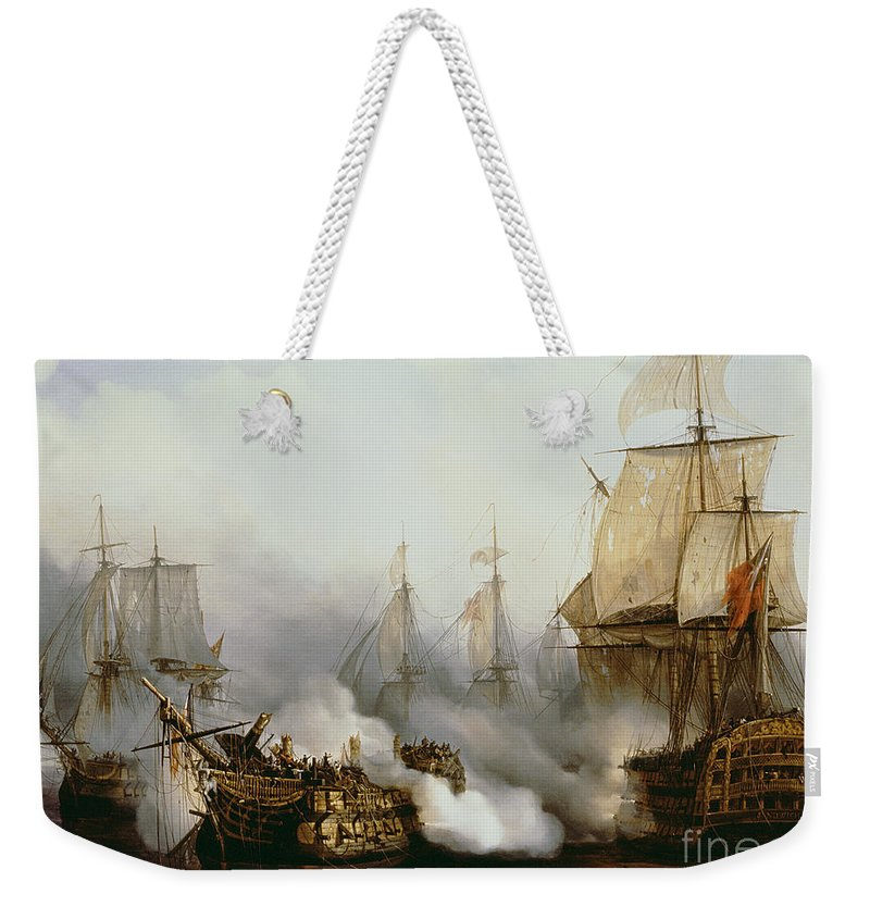 Battle Of Trafalgar By Louis Philippe Crepin Weekender Tote Bag featuring the painting Battle of Trafalgar by Louis Philippe Crepin