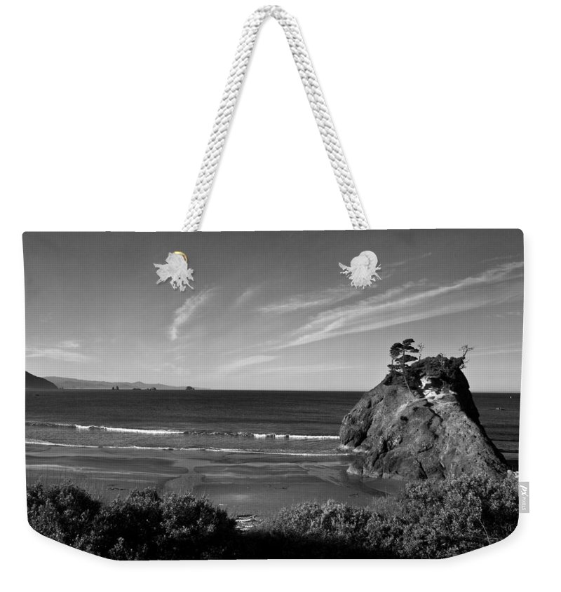 B&w Weekender Tote Bag featuring the photograph Battle Rock Beach Oregon by Lee Santa