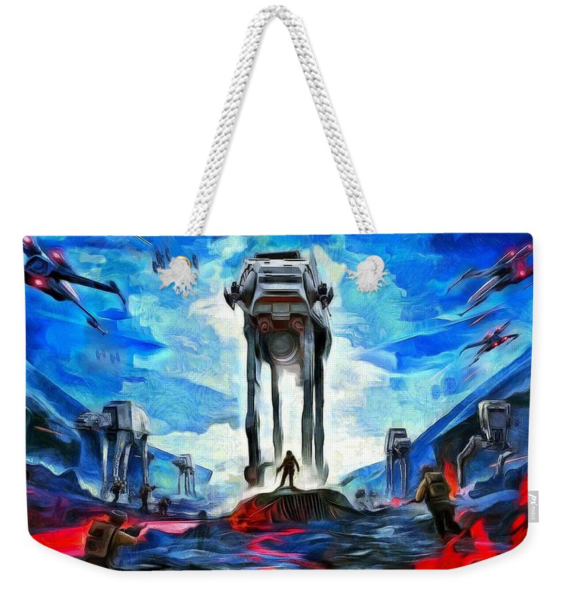 Star Wars 7 Weekender Tote Bag featuring the painting Battlefield by Leonardo Digenio