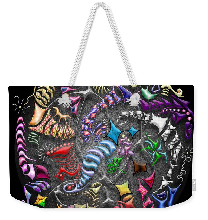 Abstract Weekender Tote Bag featuring the digital art Battling Kites -- Black by Mark Sellers