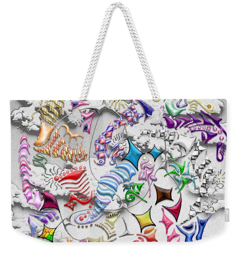 Abstract Weekender Tote Bag featuring the digital art Battling Kites -- Gray by Mark Sellers