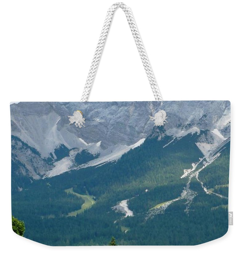 Mountains Weekender Tote Bag featuring the photograph Bavarian Alps With Shed by Carol Groenen