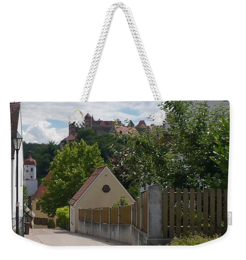 Castle Weekender Tote Bag featuring the photograph Bavarian Village With Castle View by Carol Groenen