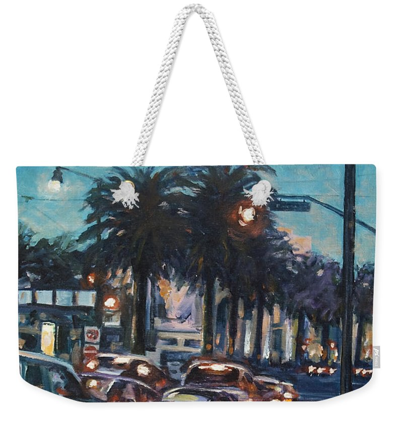 City Scape Weekender Tote Bag featuring the painting Bay Bridge by Rick Nederlof