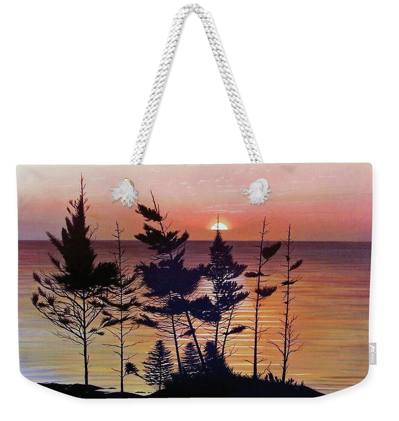 Bay Of Fundy Weekender Tote Bag featuring the painting Bay Of Fundy Sunset by Kenneth M Kirsch
