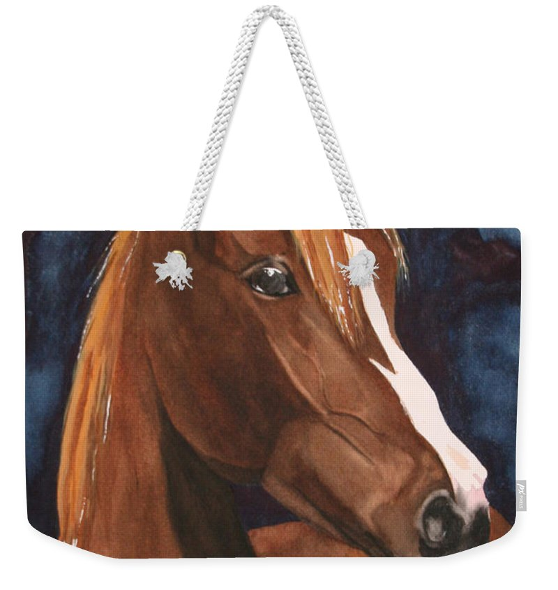 Horse Weekender Tote Bag featuring the painting Bay On Blue 2 by Jean Blackmer