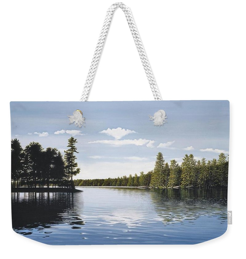 Landscapes Weekender Tote Bag featuring the painting Bay On Lake Muskoka by Kenneth M Kirsch