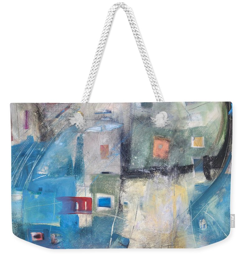 Abstract Weekender Tote Bag featuring the painting Bayer Works Wonders by Tim Nyberg