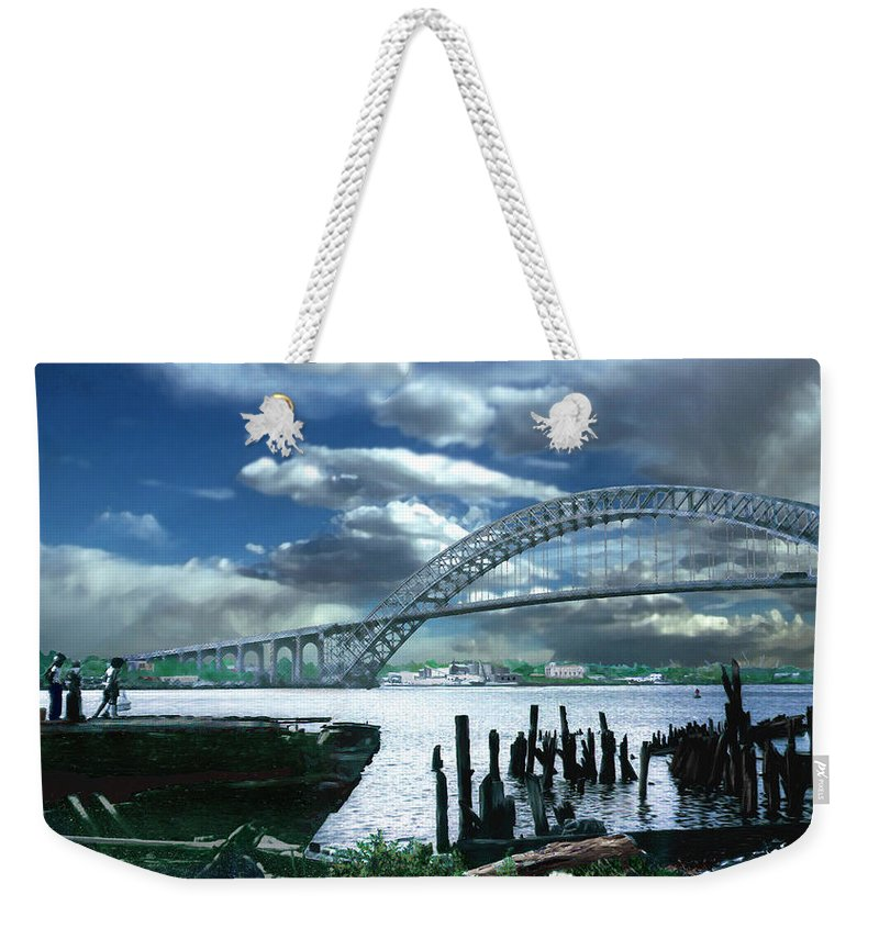 Seascape Weekender Tote Bag featuring the photograph Bayonne Bridge by Steve Karol