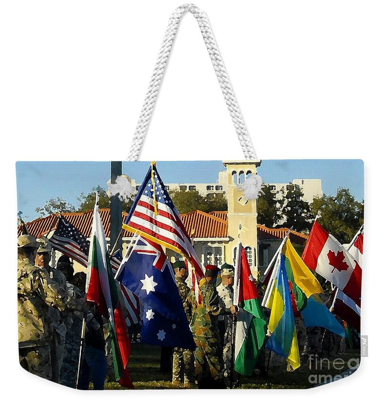 Bayshore Weekender Tote Bag featuring the photograph Bayshore Patriots by David Lee Thompson