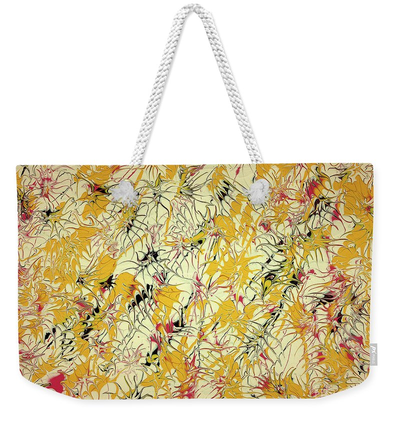 Keith Elliott Weekender Tote Bag featuring the painting Bumble Bees Against The Windshield - V1ls75 by Keith Elliott