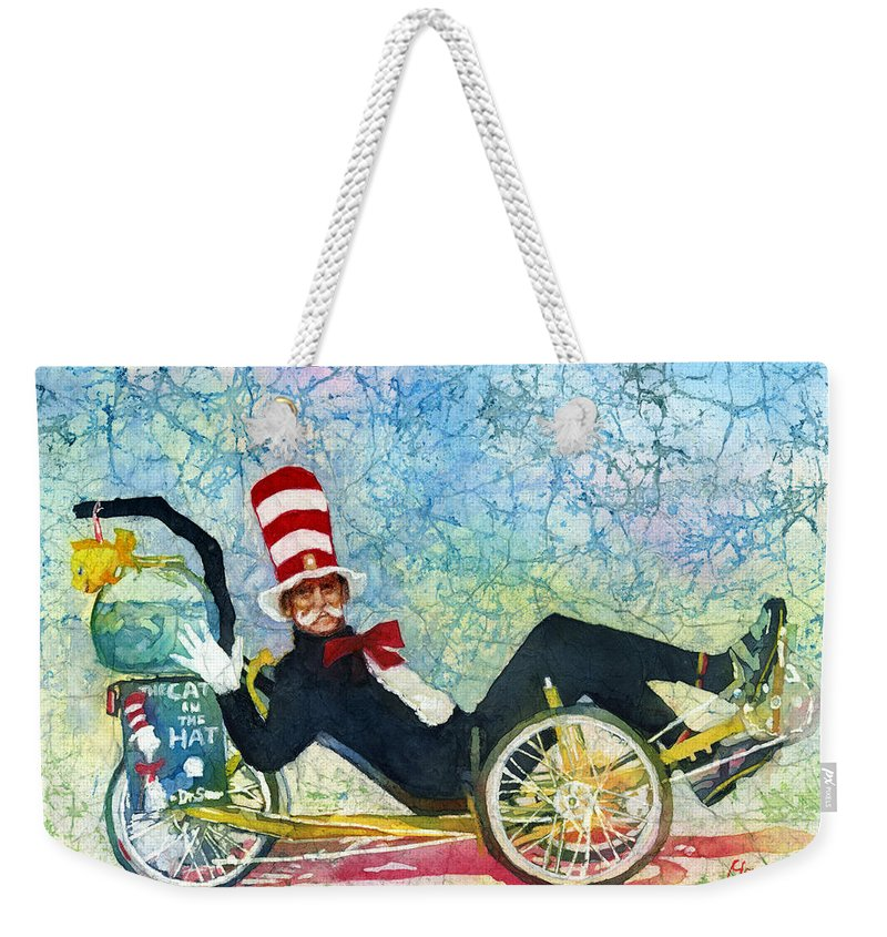 Marvin Small Weekender Tote Bag featuring the painting BCS Cool Cat by Hailey E Herrera