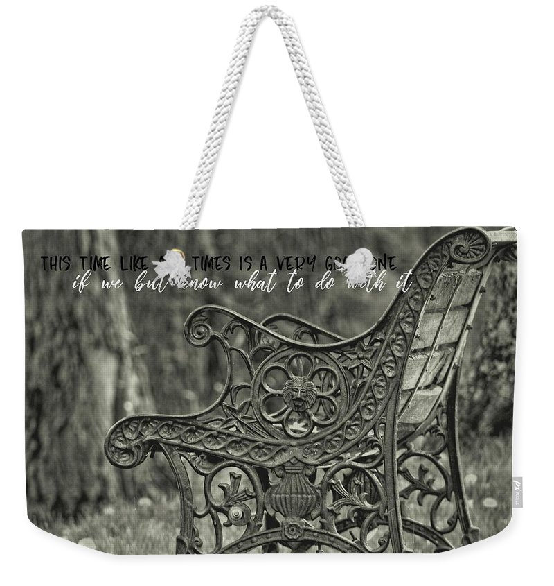 Bench Weekender Tote Bag featuring the photograph Be Aware Quote by JAMART Photography