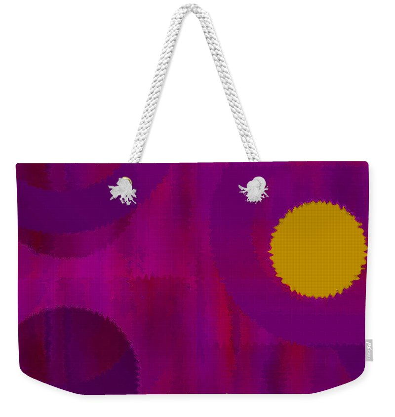 Abstract Weekender Tote Bag featuring the digital art Be Happy II by Ruth Palmer