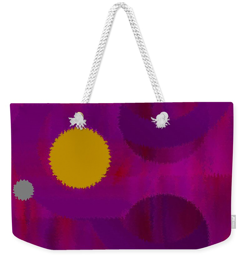 Abstract Weekender Tote Bag featuring the digital art Be Happy by Ruth Palmer