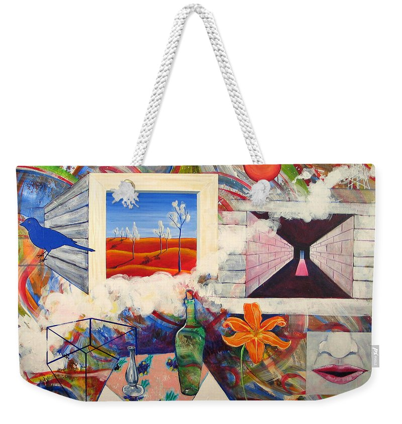 Landscape Weekender Tote Bag featuring the painting Be Here Now by Rollin Kocsis