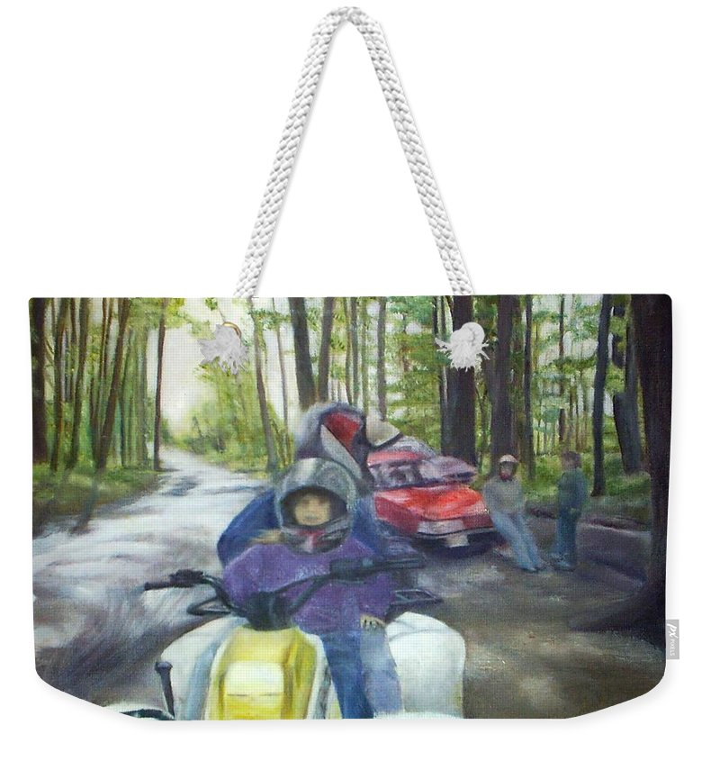 Quad Weekender Tote Bag featuring the painting Be Right Back by Sheila Mashaw