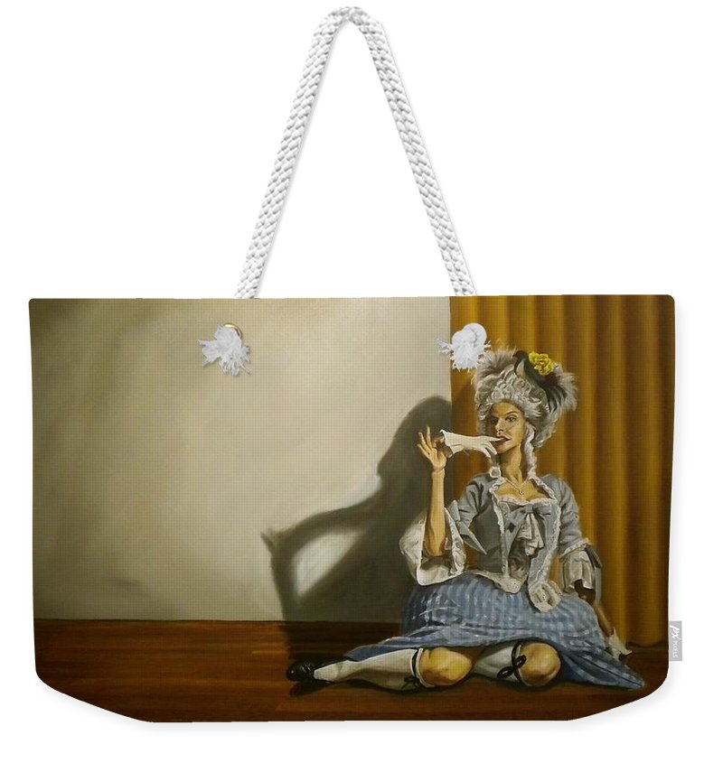 Burlesque Weekender Tote Bag featuring the painting Bea B Heart by Kenneth Browne