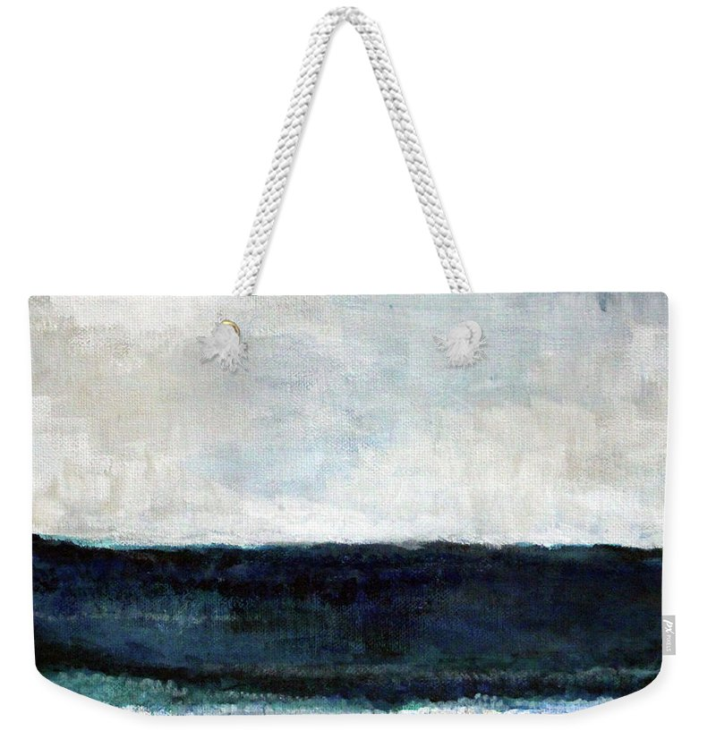 Beach Weekender Tote Bag featuring the painting Beach- abstract painting by Linda Woods