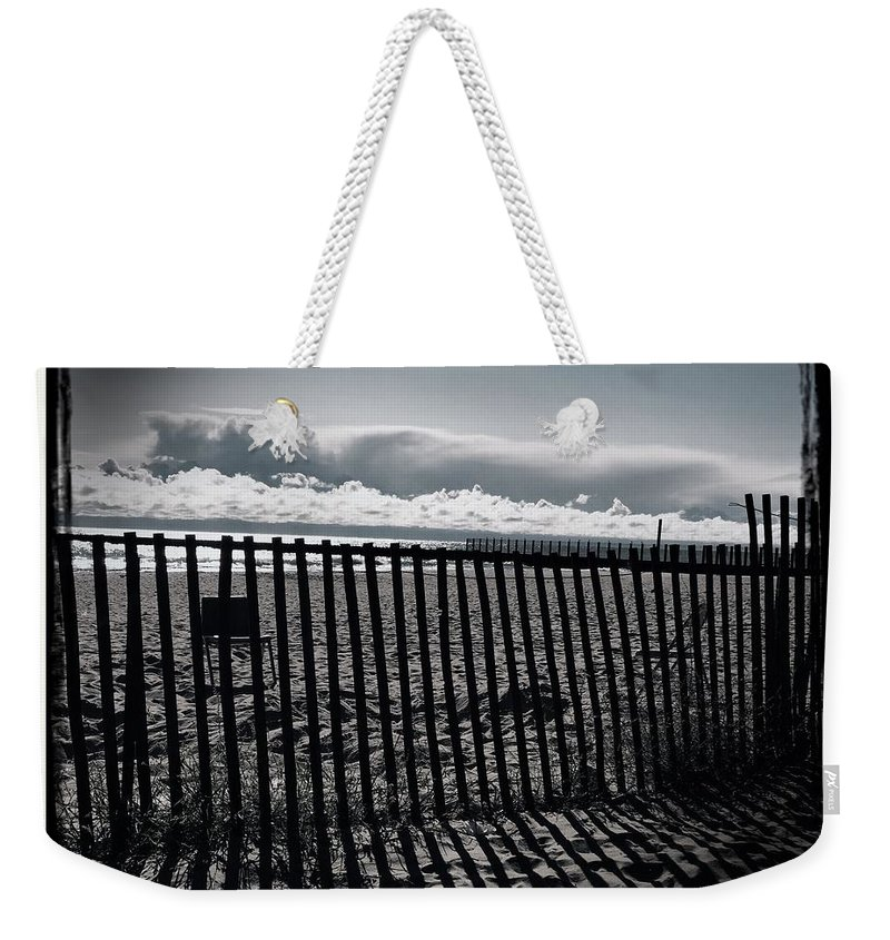 Beach Weekender Tote Bag featuring the photograph Beach And Fence by Judith Kitzes