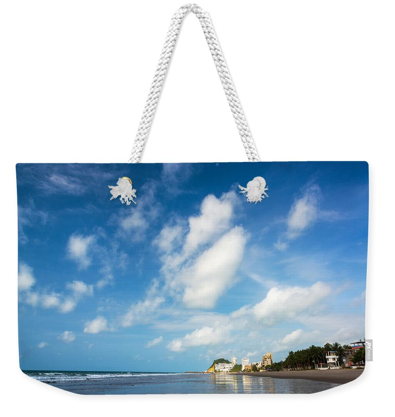 Same Weekender Tote Bag featuring the photograph Beach And Sky In Ecuador by Jess Kraft