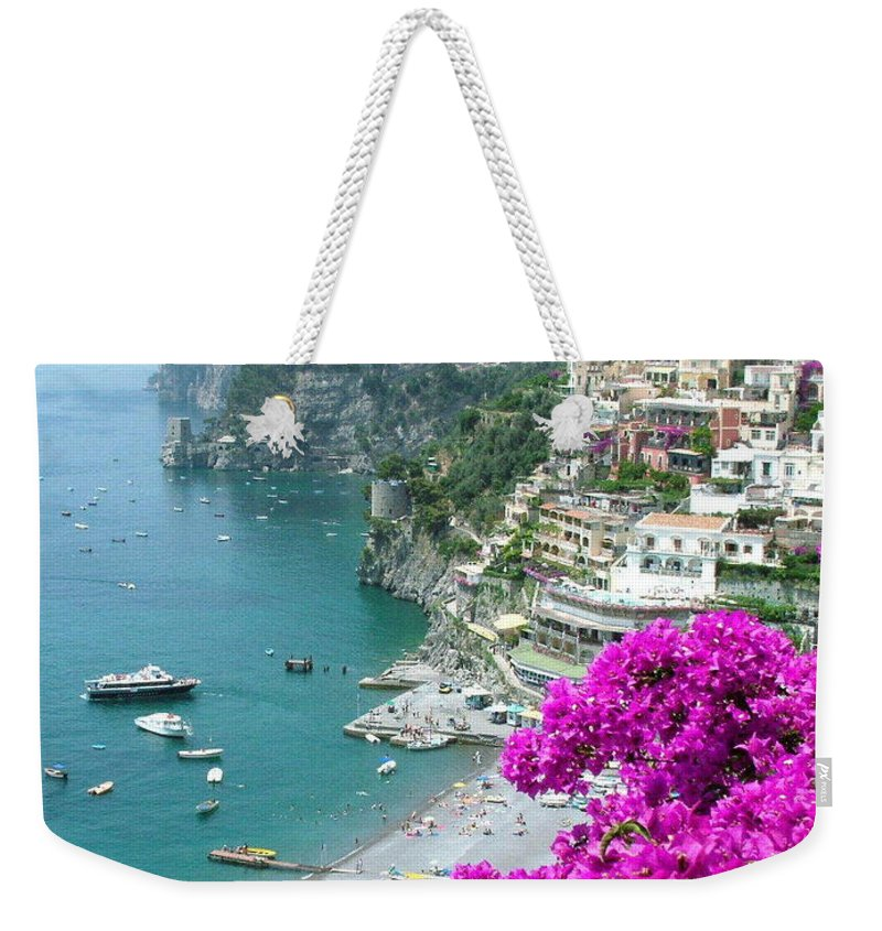 Positano Weekender Tote Bag featuring the photograph Beach At Positano by Donna Corless