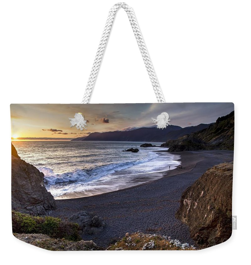 Beach Weekender Tote Bag featuring the photograph Beach At Sunset by FL collection