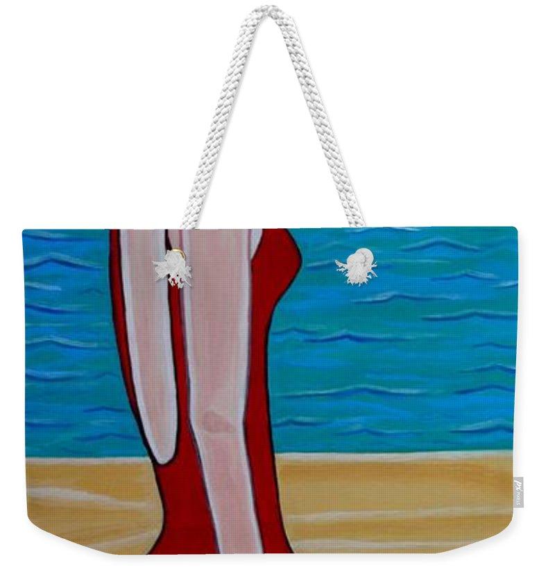 Celebrity Paintings Weekender Tote Bag featuring the painting Beach Babe by Sandra Marie Adams