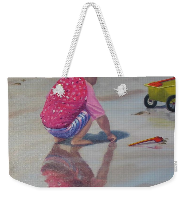 Baby Weekender Tote Bag featuring the painting Beach Baby by Lea Novak