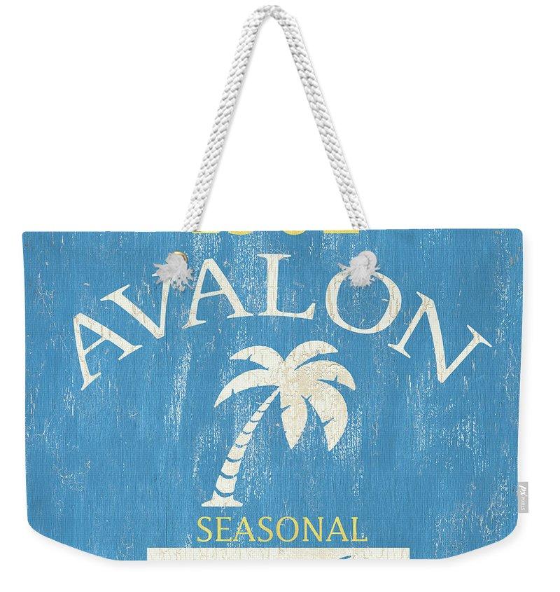 Beach Weekender Tote Bag featuring the painting Beach Badge Avalon by Debbie DeWitt