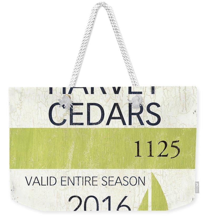 Beach Weekender Tote Bag featuring the painting Beach Badge Harvey Cedars by Debbie DeWitt