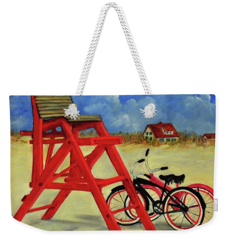 St. Augustine Weekender Tote Bag featuring the painting Beach Bikes by Carolyn Shireman