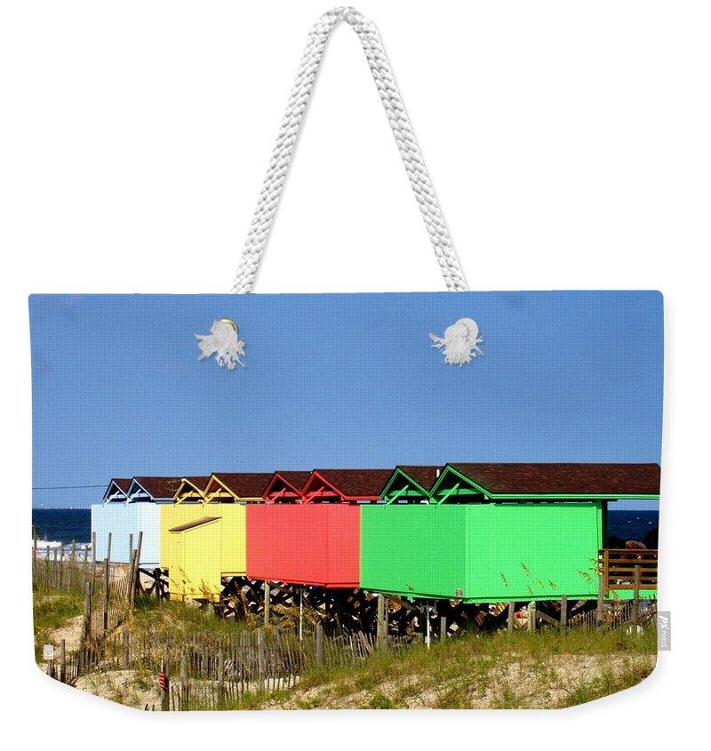 Beach Weekender Tote Bag featuring the photograph Beach Cabanas by Deborah Crew-Johnson