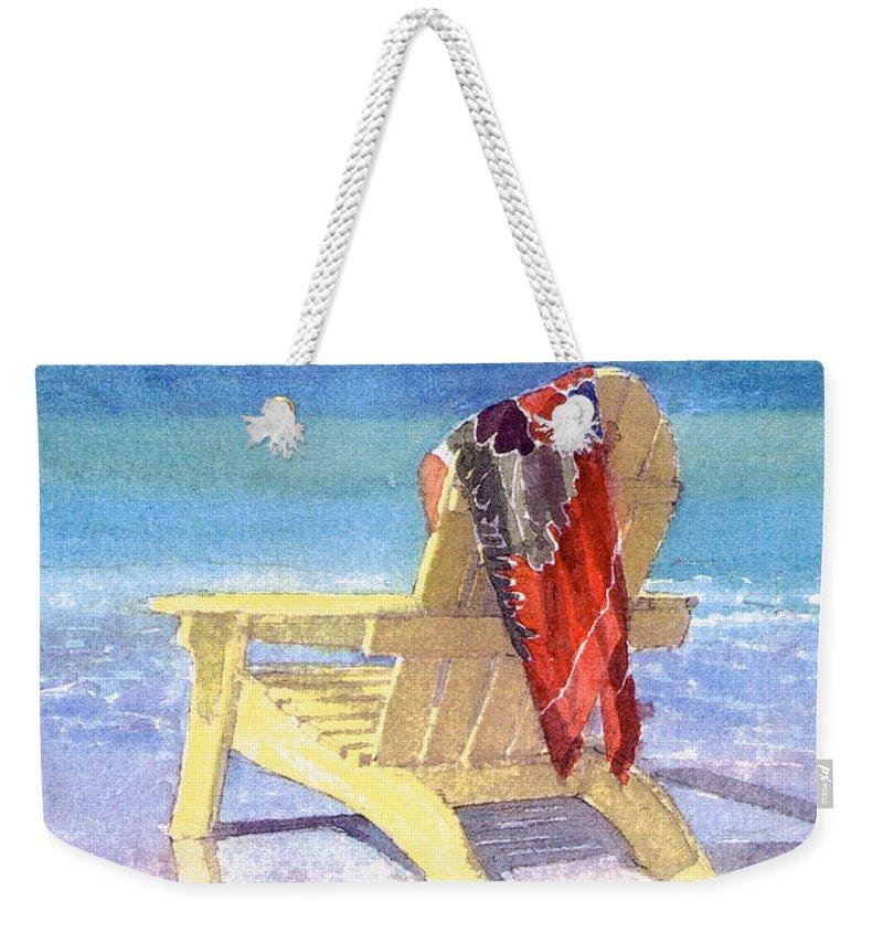 Beach Weekender Tote Bag featuring the painting Beach Chair by Shawn McLoughlin